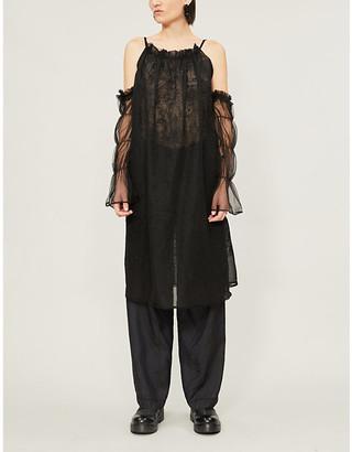 RENLI SU Patterned cold-shoulder lace midi dress