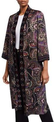 Johnny Was Long Velvet Mix Kimono Jacket