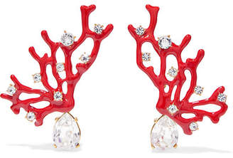 Kenneth Jay Lane Gold-tone, Enamel And Crystal Clip Earrings - Red