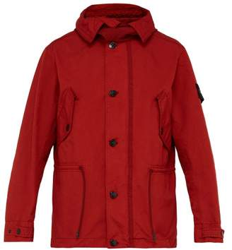 Stone Island Hooded Drawstring Field Jacket - Mens - Burgundy