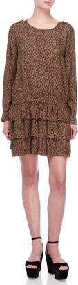Scotch & Soda Printed Drop Waist Long Sleeve Dress