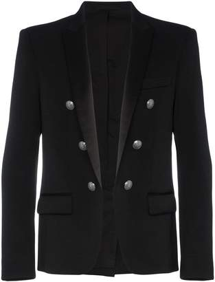 Balmain 6 button wool blazer with satin lapels