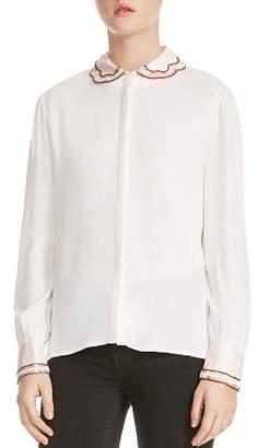 Maje Canga Embellished Button-Down Shirt