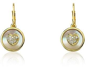 "Little Miss Twin Stars Girls' Flower"" 14k Gold-Plated Coin Pearl with Cubic Zirconia Heart Dangle Drop Earrings"