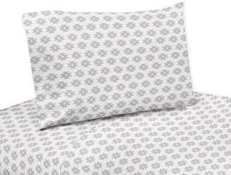 JoJo Designs Sweet Grey Tribal Geometric Print 4 Piece Sheet Set for Feather Collection Bedding Set