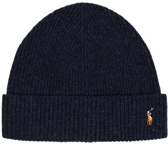 Polo Ralph Lauren logo merino wool beanie hat
