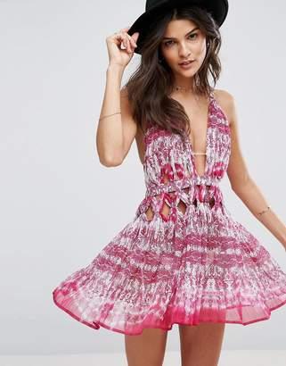 Asos Pink Snake Knot Waist Chiffon Beach Dress