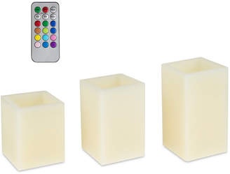 Trademark Global 4-Pc. Square Color-Changing Flameless Candle & Remote Control
