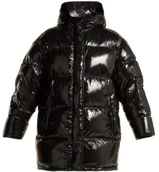 Prada High Shine Belted Down Filled Coat - Womens - Black