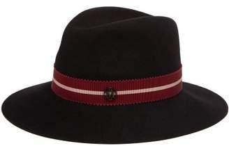 Maison Michel Henrietta Ribbon Trimmed Rabbit Felt Hat - Womens - Black