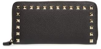 Valentino Rockstud Zip Around Leather Continental Wallet