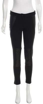 Yigal Azrouel Leather-Accented Skinny-Leg Pants