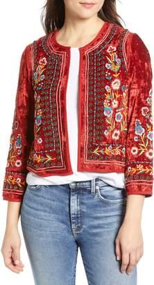 Velvet by Graham & Spencer Embroidered Velvet Jacket