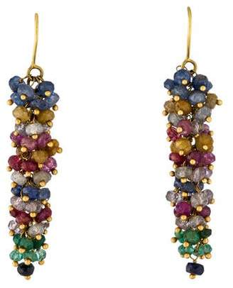 18K Emerald, Ruby & Sapphire Drop Earrings