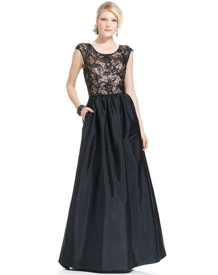 JS Boutique Dress, Cap-Sleeve Lace Sequin Gown