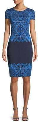 St. John Brocade Graphic Short-Sleeve Knit Dress