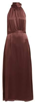 Zimmermann Tie Neck Silk Satin Midi Dress - Womens - Brown