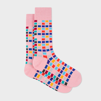 Men's Pink Multi-Coloured Tile Pattern Socks $30 thestylecure.com