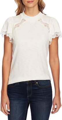 CeCe Mock Neck Knit & Lace Top