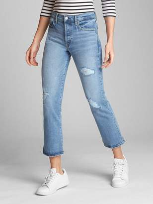 Gap High Rise Crop Flare Jeans with Distressed Detail