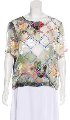Preen by Thornton Bregazzi Short Sleeve Devoré Blouse