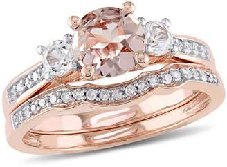 MODERN BRIDE Genuine Morganite & 1/7 CT. T.W. Diamond 10K Rose Gold Bridal Set