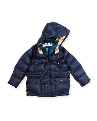 Burberry Peter Hooded Puffer Jacket, Navy, Size 4-14 $525 thestylecure.com