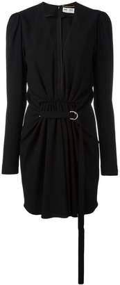 Saint Laurent gathered V-neck mini dress