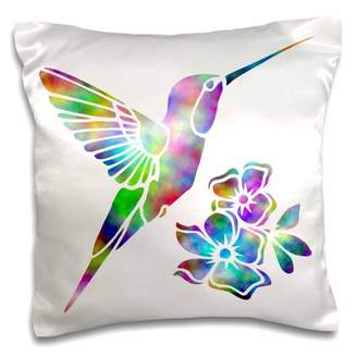 3dRose Rainbow Tie Dye Hummingbird and Flowers, Pillow Case, 16 by 16-inch