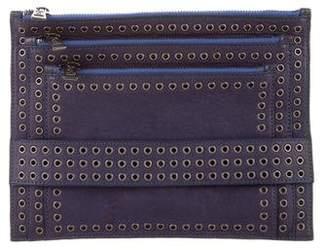 Ash Leather Embellished Clutch