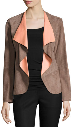 Lafayette 148 New York Suede & Leather Combo Jacket, Nutmeg/Peach $659 thestylecure.com