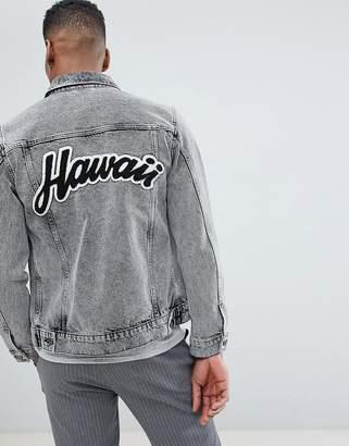 Selected Homme+ Denim Jacket With Back Hawaii Flocking