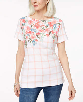Karen Scott Petite Embellished Graphic-Print Top, Created for Macy's