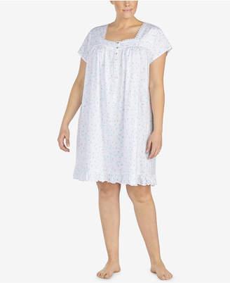 Eileen West Plus Size Venise-Lace-Trim Cotton Knit Nightgown