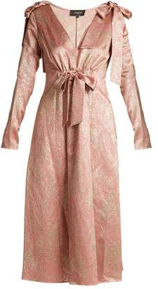Rochas Bow Shoulder Floral Jacquard Midi Dress - Womens - Pink Gold