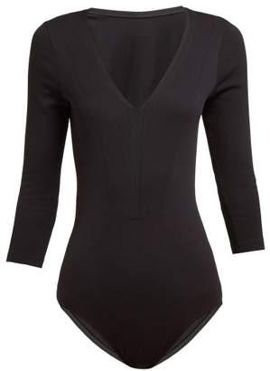 Falke Dream Ribbed Crop Sleeve Bodysuit - Womens - Black