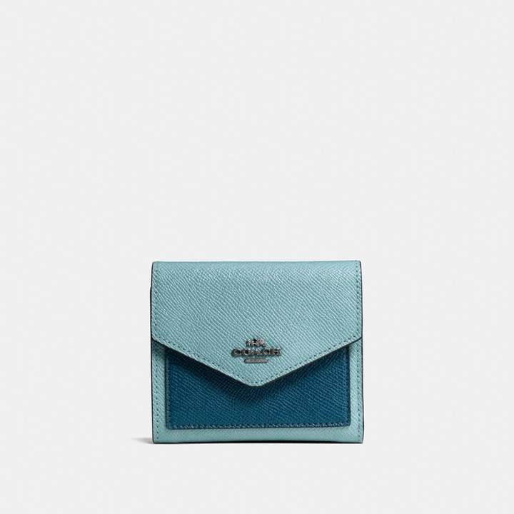 Coach Small Wallet In Colorblock - CLOUD/MINERAL/DARK GUNMETAL - STYLE