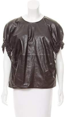 Salvatore Ferragamo Leather Open Back Top