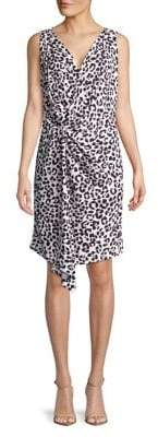 Ellen Tracy Petite Leopard Printed Twisted Front Dress