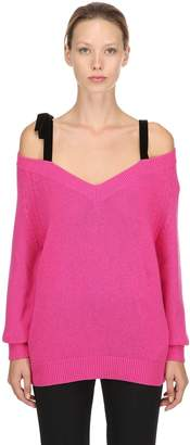 RED Valentino V Neck Wool Sweater W/ Velvet Straps