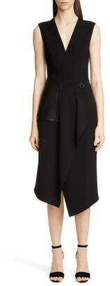 Yigal Azrouel Leather Pocket Mechanical Stretch Midi Dress