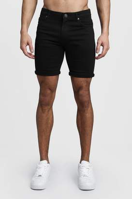 boohoo Stretch Skinny Fit Black Denim Shorts