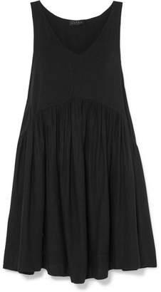 Hatch Fiona Gathered Cotton-blend Voile Mini Dress - Black