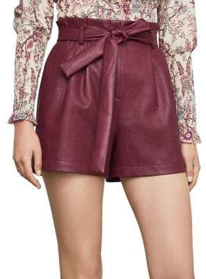 BCBGMAXAZRIA Pleated Faux Leather Shorts
