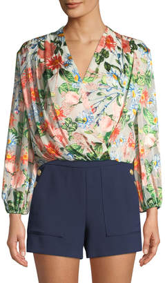 Alice + Olivia Trista Cross-Front Floral-Print Blouson Top