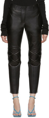 Bottega Veneta Black Leather Biker Trousers
