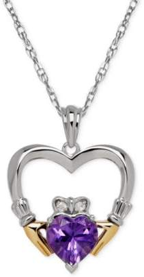 Macy's Birthstone (5/8 ct. t.w.) and Diamond Accent Claddagh Pendant Necklaces in Sterling Silver and 14k Gold