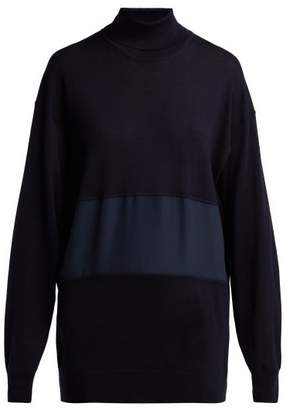 Chloé Roll Neck Silk Panel Wool Sweater - Womens - Navy