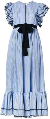 MSGM striped ruffle trim dress
