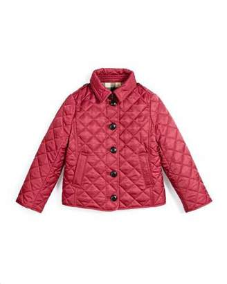 Burberry Ashurst Quilted Button-Front Jacket, Fritillary Pink, Size 4-14